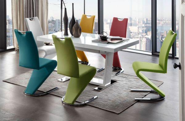 Essgruppe Tisch Manhattan Hochglanz weiß 6 x Schwingstuhl Amado verschiedenfarbig Freischwinger
