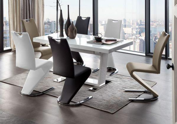Essgruppe Tisch Manhattan weiß Hochglanz 6 x Schwingstuhl Amado verschiedenfarbig Freischwinger
