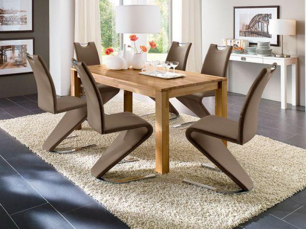 Essgruppe Tisch Paul Kernbuche massiv 6 x Stuhl Amado cappuccino Freischwinger