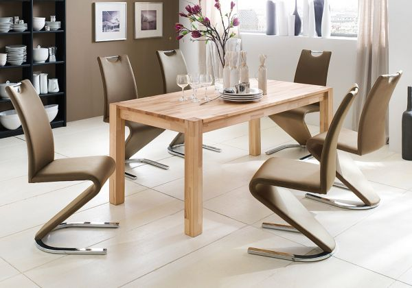 Essgruppe Tisch Peter Kernbuche massiv 6x Schwingstuhl Amado cappuccino Freischwinger