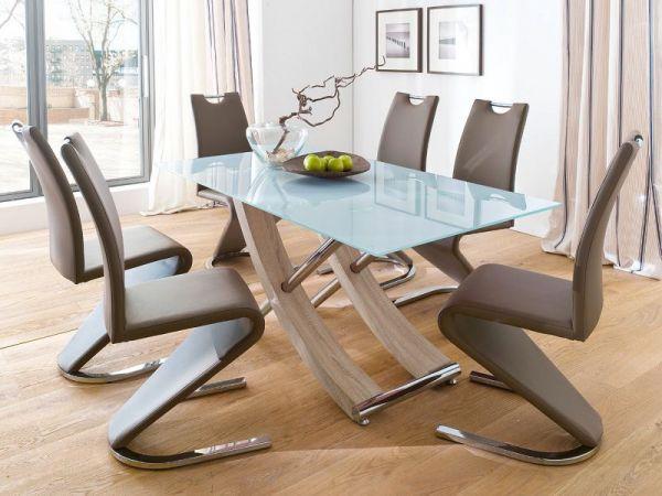 Essgruppe Tisch Samoa weiß lackiert 6 x Stuhl Amado Freischwinger