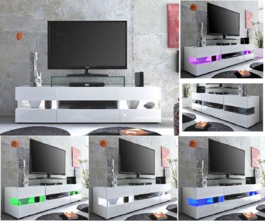 "Wohnzimmer: TV-Lowboard ""Sonic"" Glanz weiß (169 x 43 cm) inkl. Panorama-Vitrinen"