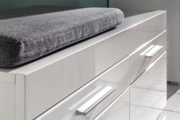 Garderobe Amanda 5-teilig Hochglanz weiß mit Sitzbank 260 cm