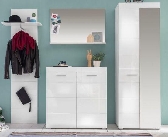 Garderobenset Amanda 4 teilig weiß Hochglanz 230 cm mit Garderobenschrank