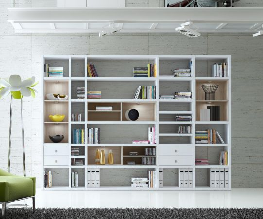 Wohnwand Bücherwand MDor Dekor Lack weiß matt Eiche Natur LED-Beleuchtung Breite 241 cm