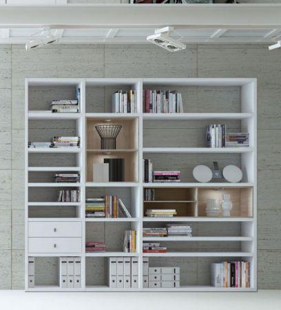 Wohnwand Bücherwand MDor Dekor Lack weiß matt LED-Beleuchtung Breite 241 cm