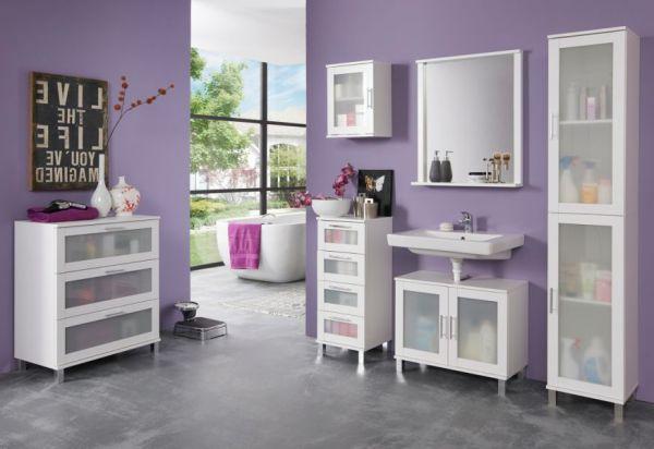 Badezimmer Badmöbel Set 6-teilig Florida weiß und Glas satiniert inkl. Badschrank Kommode