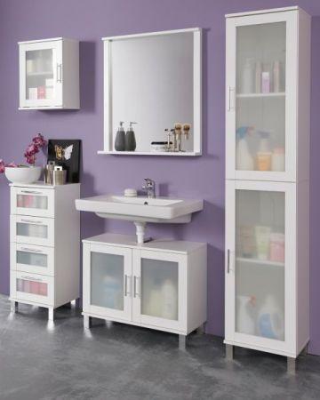 Badezimmer Badmöbel Set 5-teilig Florida weiß und Glas satiniert 165 x 188 cm