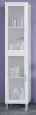 Badezimmer Hochschrank Florida in weiß und Glas satiniert Badmöbel 35 x 188 cm Badschrank