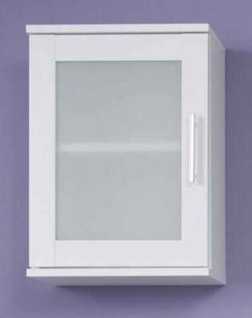 Badezimmer Hängeschrank Florida weiß und Glas satiniert Badmöbel 35 x 48 cm Badschrank