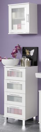 Badezimmer Schubkastenkommode Florida in weiß und Glas satiniert Badmöbel 35 x 89 cm Kommode
