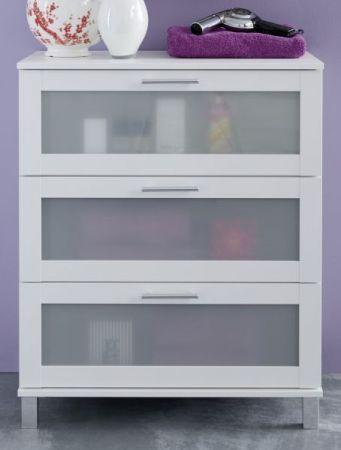 """Badezimmer: Kommode """"Florida"""" weiß, Glas satiniert (70x89 cm)"""