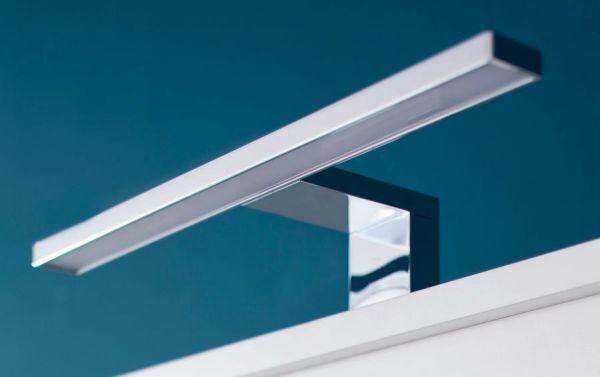 Badezimmer Badmöbel Set Porto in weiß und Eiche sägerau hell Badkombination 8-teilig mit Glas satiniert