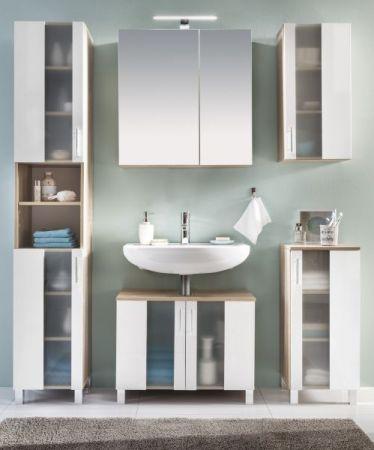 Waschbeckenunterschrank Unterschrank Porto weiß / Eiche