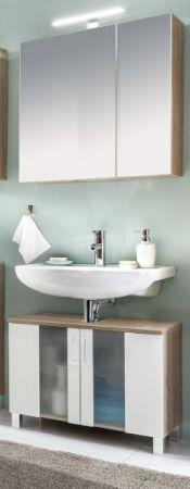 Bad Spiegelschrank Porto in Eiche sägerauh und weiß Badschrank 65 cm