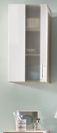 Badezimmer Hängeschrank Porto in weiß und Eiche sägerau hell Badmöbel mit Glas satiniert 33 x 70 cm Badschrank