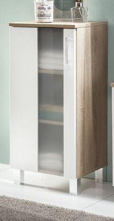 Badezimmer Unterschrank Porto in weiß und Eiche sägerau hell Badmöbel mit Glas satiniert 33 x 80 cm Kommode