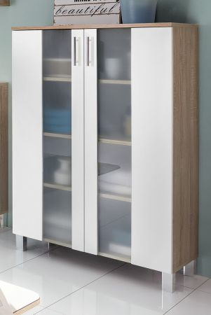 Badezimmer Midischrank Porto in weiß und Eiche sägerau hell Badmöbel mit Glas satiniert 65 x 109 cm Kommode