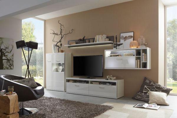 Wohnwand Trento 1 in weiß Hochglanz mit Edelstahl 301 x 201 cm