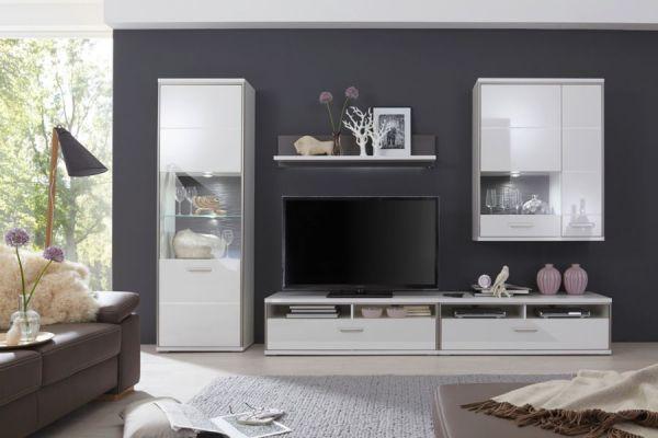 Wohnwand Trento 3 in weiß Hochglanz mit Edelstahl 321 x 201 cm