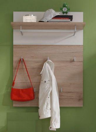 Wandgarderobe Garderobenpaneel Campus Weiß und Eiche hell 80 x 109 cm