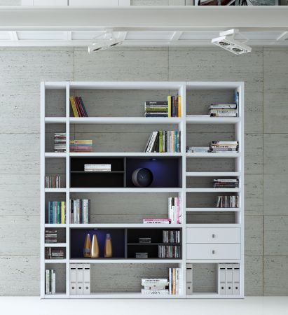 Wohnwand Bücherwand MDor Dekor Lack weiß matt Eiche Natur LED-Beleuchtung Breite 207 cm