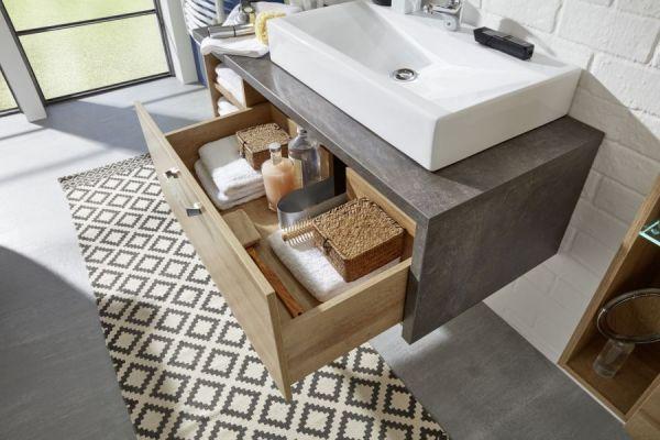 Waschbeckenunterschrank Bay Eiche Riviera Honig Beton grau Waschtisch opt. mit Waschbecken 120 cm