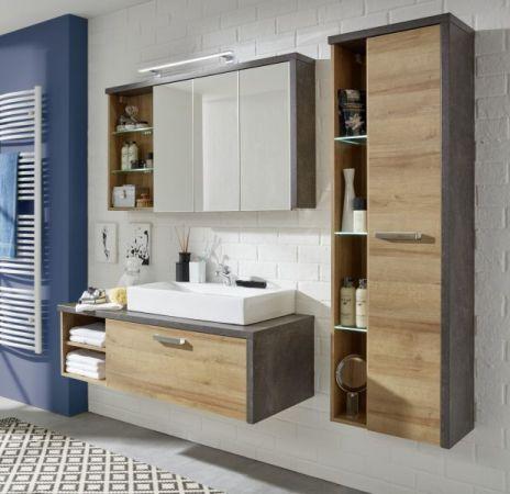Waschbeckenunterschrank Bay Eiche Riviera Honig und grau Beton Design Waschtisch 123 cm