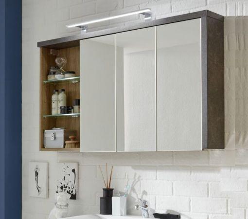 Spiegelschrank Bay 3-türig Eiche Riviera Honig und grau Beton Stone Design 123 cm