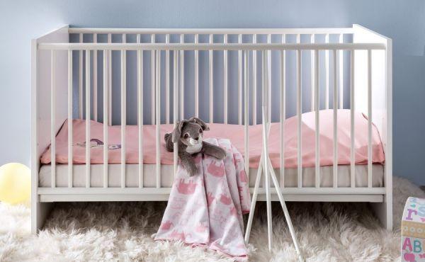 Kinderbett / Gitterbett Ronja inkl. Lattenrost in weiß Liegefläche 70x140 cm