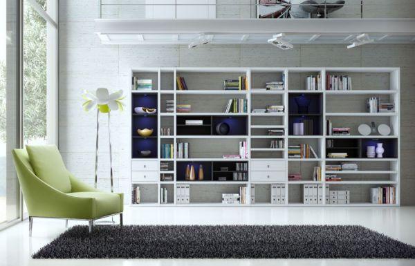 Wohnwand Bücherwand MDor Dekor Lack weiß Hochglanz schwarz LED-Beleuchtung Breite 207 cm