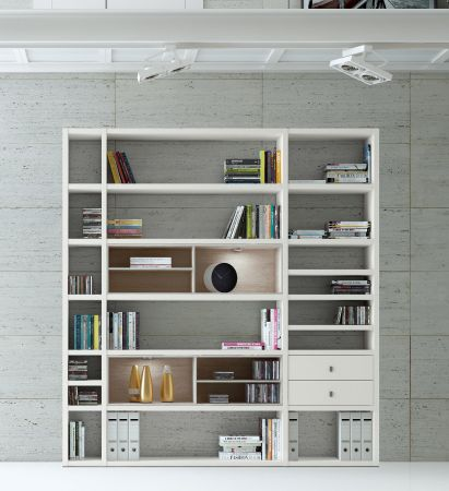 Wohnwand Bücherwand MDor Dekor Lack weiß matt LED-Beleuchtung Breite 207 cm