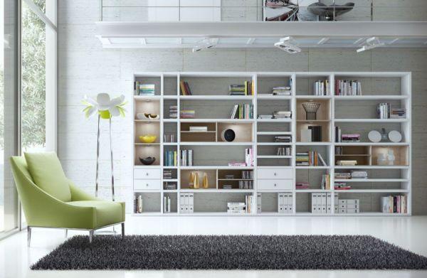 Wohnwand Bücherwand MDor Dekor Lack weiß matt Eiche Natur LED-Beleuchtung Breite 181 cm