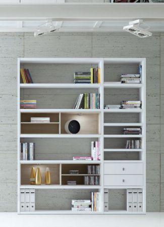 Wohnwand Bücherwand Dekor Lack weiß Hochglanz Eiche Natur LED-Beleuchtung Breite 181 cm
