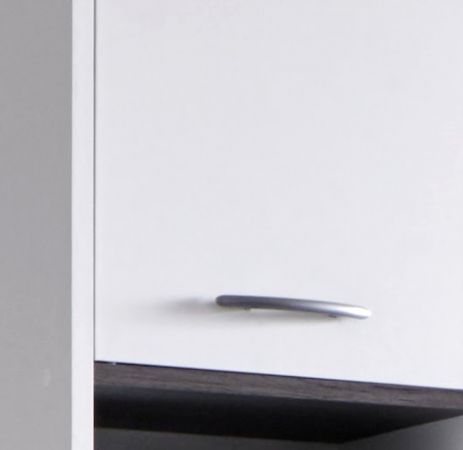Badschrank Hochschrank California in weiß und Sardegna grau Rauchsilber 32x180 cm