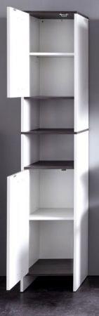Badmöbel Hochschrank California in weiß und Sardegna grau Rauchsilber Badezimmer 32 x 180 cm Badschrank