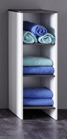 Badezimmer Kommode California Regalschrank in weiß und Sardegna grau / Rauchsilber