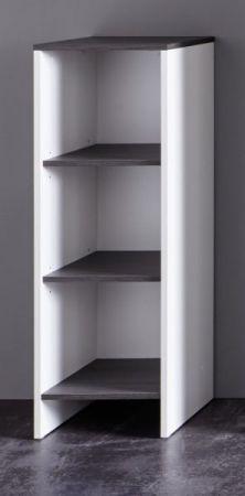 Badmöbel Regal California in weiß und Sardegna grau Rauchsilber Regalschrank 32 x 103 cm Badschrank
