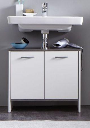 Waschbeckenunterschrank weiß und Sardegna grau / Rauchsilber California