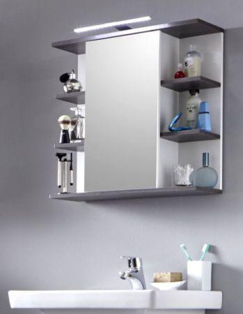 Badezimmer Spiegelschrank California weiß und Sardegna grau 60 cm