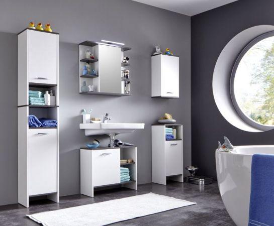 Badezimmer Spiegelschrank California in weiß und Sardegna grau Rauchsilber 60 x 60 cm optional mit LED Spiegellampe