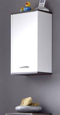 Badmöbel Hängeschrank California in weiß und Sardegna grau Rauchsilber Badezimmer 32 x 60 cm Badschrank