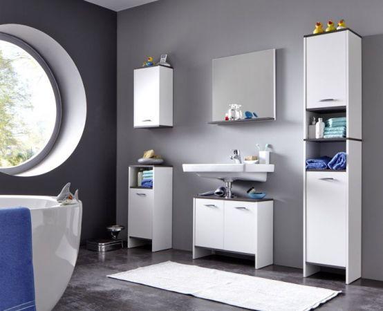 Badmöbel Unterschrank California in weiß und Sardegna grau Rauchsilber Badezimmer Kommode 32 x 82 cm Badschrank