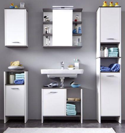 Badmöbel komplett Set California weiß und Sardegna grau / Rauchsilber 5-teilig mit Spiegelschrank