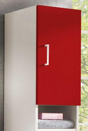 Badezimmer Hochschrank mit Dekofächern in weiß-rot 30 x 170 cm Adola