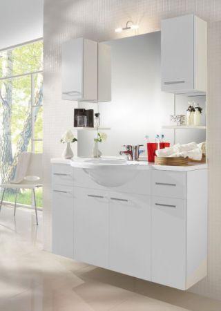 Badmöbel Set in weiß mit Waschbecken und Beleuchtung 110 cm Adola