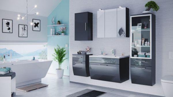Badmöbel Set Salona Anthrazit Hochglanz mit Waschbecken und Beleuchtung Badkombination 5-teilig