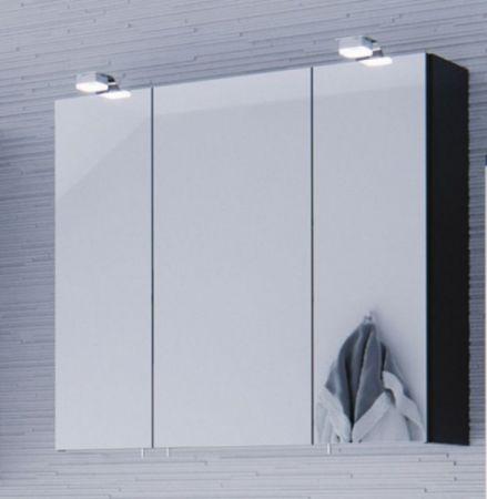 Badmöbel Set Salona Anthrazit Hochglanz 5-teilig inkl. Waschbecken und Beleuchtung