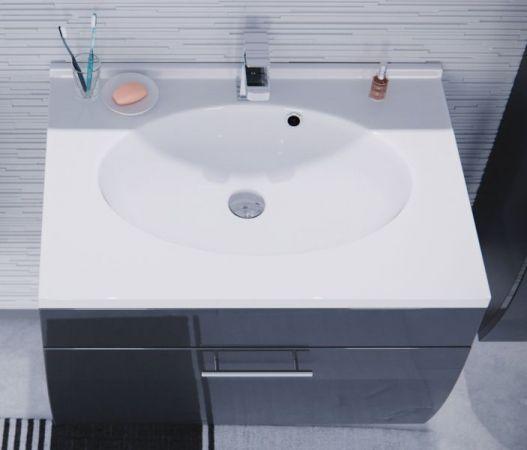 Badmöbel Waschplatz inkl. Waschbecken in Anthrazit Hochglanz