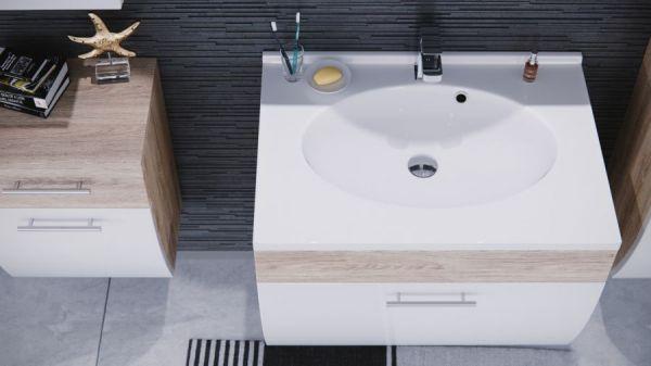 Badmöbel Set Salona inkl. Waschbecken in Sonoma Eiche und weiß Hochglanz 5-teilig